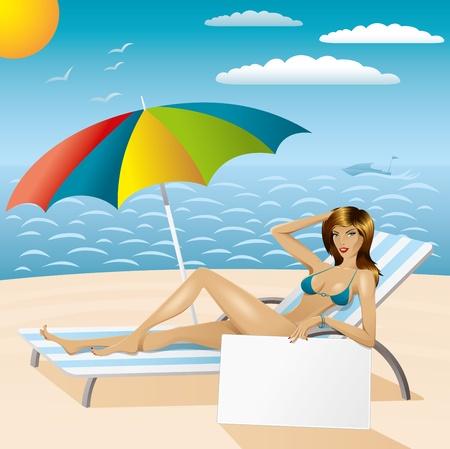 vector sexy woman in bikini with umbrella and empty board on the beach Stock Vector - 9564116