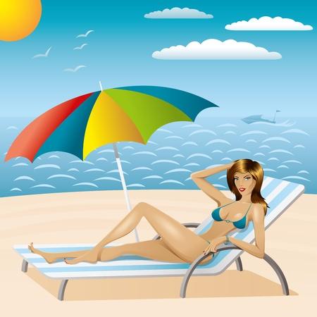 vector sexy woman in bikini with umbrella on the beach Vector