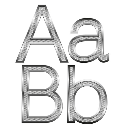 vector set of thin diamond metal letters on white Stock Vector - 9564127