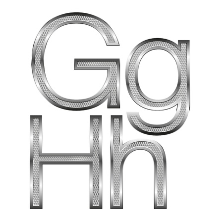 vector set of thin diamond metal letters on white Stock Vector - 9564131