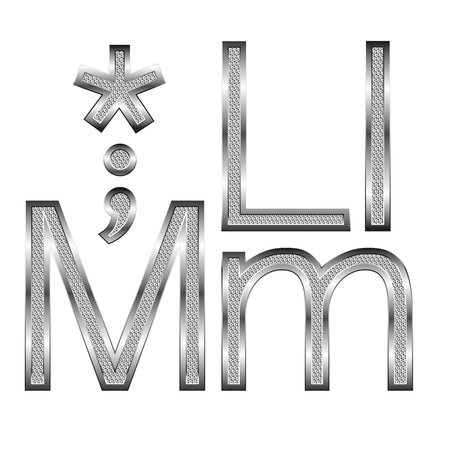 vector set of thin diamond metal letters on white Vector