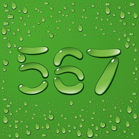 coolness: vector water drop letters isolated on green background