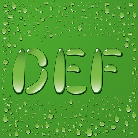 vector water drop letters isolated on green background Vector
