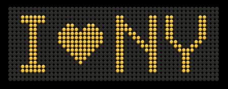 ny: yellow button board words i love NY isolated on black board Illustration