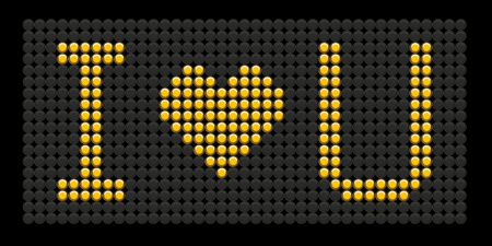 yellow button board words i love you isolated on black board Vector