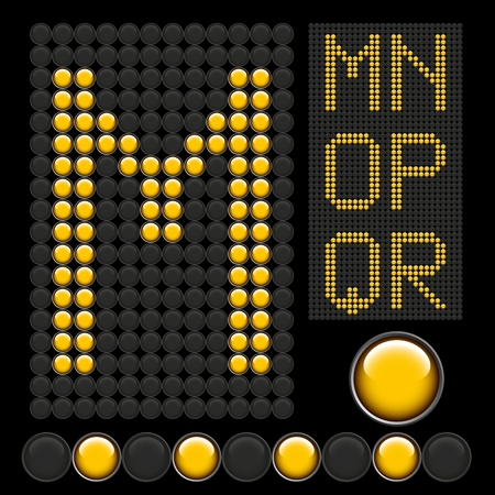 vector yellow button letters isolated on black board Vector