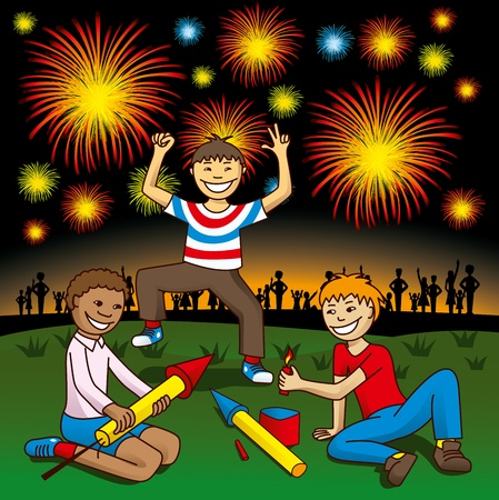 chinese family: vector kids with fireworks on the hill celebrate independence day
