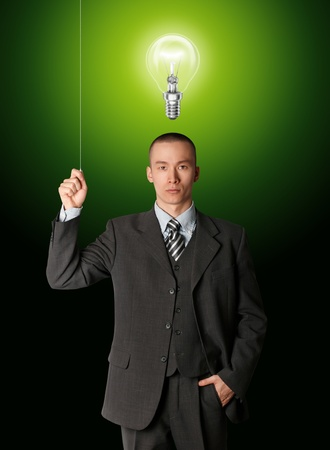 got: business man turn on the light and have got an idea