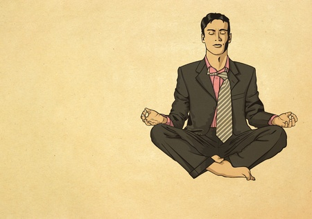 businessman in lotus pose meditating Stock Photo - 9621969