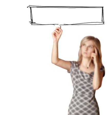 businesswoman writting something isolated on white background, selected focus photo