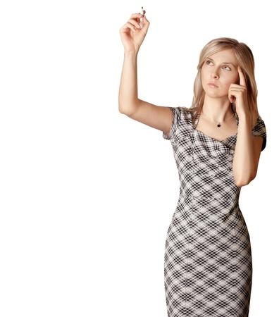 businesswoman writting something isolated on white background photo