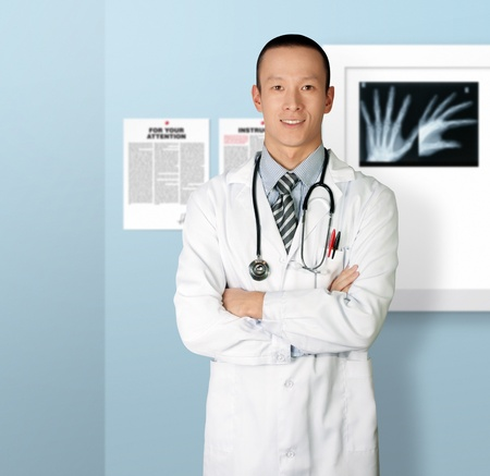 doctor smiles at camera isolated on different backgrounds photo