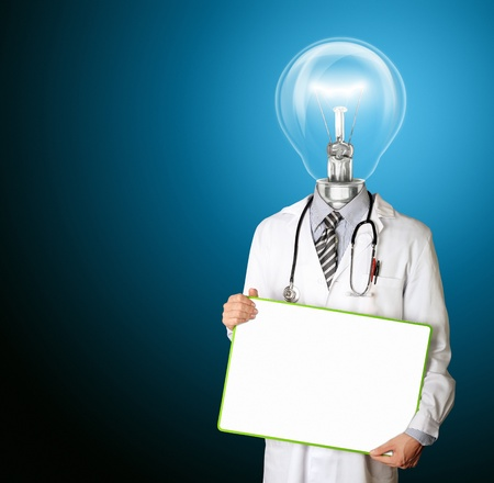doctor with empty board in hith hands template and lamp-head, isolated photo