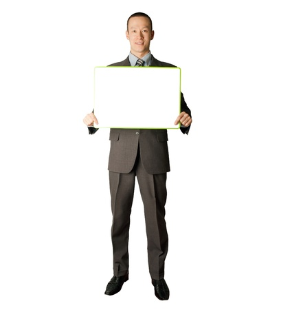 holding close: happy businessman holding blank white card in his hands Stock Photo