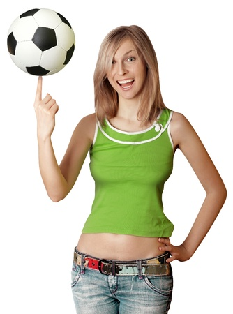 happy girl with soccer ball goes to Africa 2010 Stock Photo - 9621743
