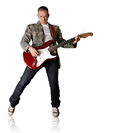 punk man with the guitar isolated on white background