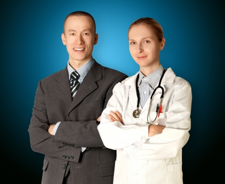 healthcare office: smiling business man and doctor isolated on different backgrounds