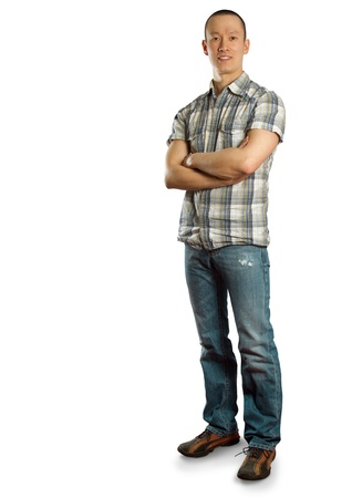 happy asian male in jeans  against different backgrounds Stock Photo - 9712443
