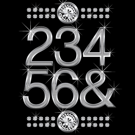 vector set of thin metal diamond letters and numbers big and small Vector