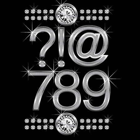 vector set of thin metal diamond letters and numbers big and small Stock Vector - 9712218