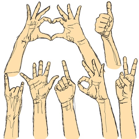 hands raised: vector set of many human hands on white background Illustration