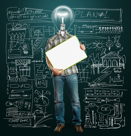 lamp head businessman holding empty write board in his hands Stock Photo - 9712764