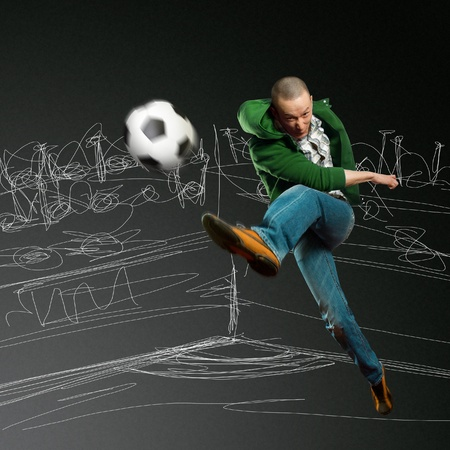 action shot: asian soccer player on training, kick the soccer ball Stock Photo