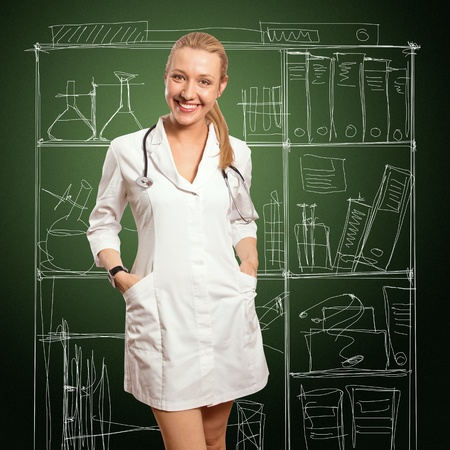 young doctor woman with stethoscope against white background photo