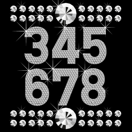 vector set of diamond letters and numbers big and small Vector
