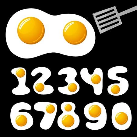 fried eggs: vector fried eggs alphabet Illustration