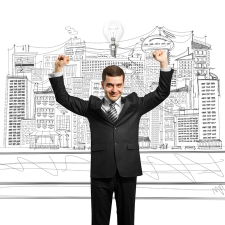 excited lamp-head businessman with hands up  Stock Photo - 9817509