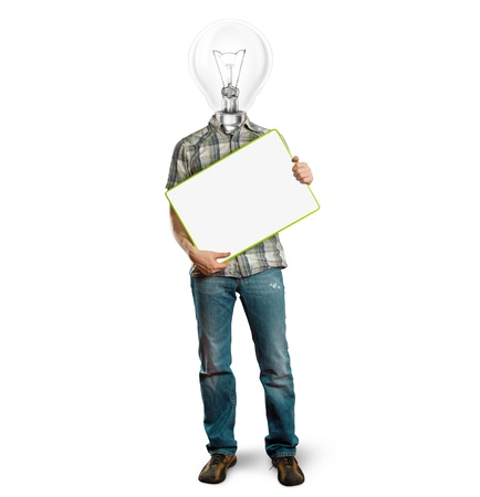lamp head businessman holding empty write board in his hands Stock Photo - 9954998