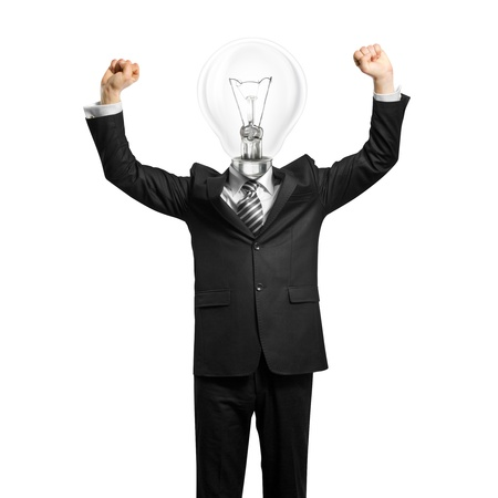 excited lamp-head businessman with hands up  Stock Photo - 9954997