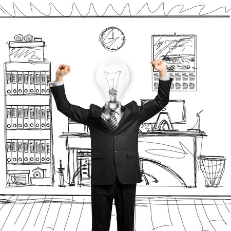 excited lamp-head businessman with hands up  Stock Photo - 9955012