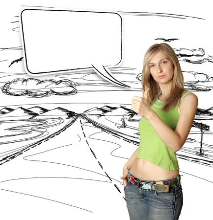 young woman shows well done with bubble speech Stock Photo - 9955003