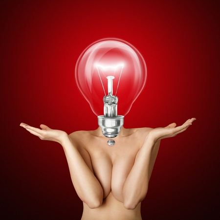 lamp head beautiful naked woman with open hands Stock Photo - 9955042