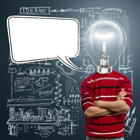 creative communication: male in red and lamp-head with speech bubble, have got an idea