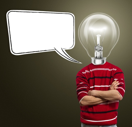 male in red and lamp-head with speech bubble, have got an idea photo