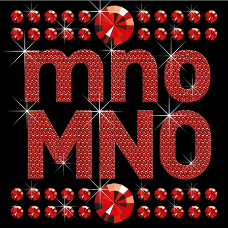 crystal clear: vector set of red diamond letters and numbers big and small