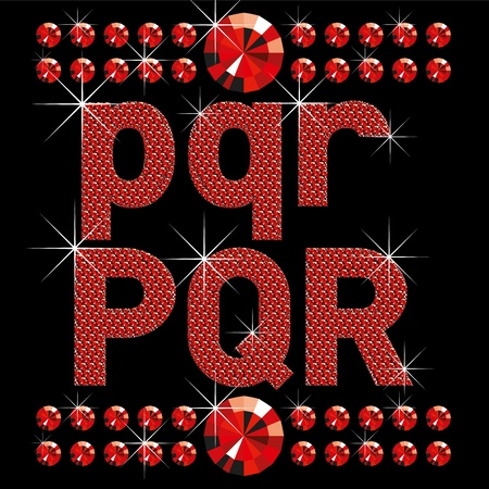 rnb: vector set of red diamond letters and numbers big and small