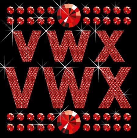 vector set of red diamond letters and numbers big and small Vector