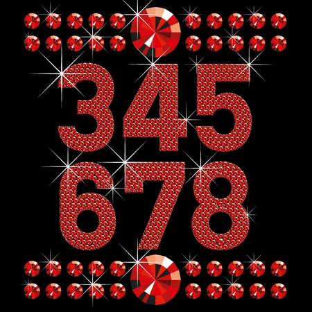 writting: vector set of red diamond letters and numbers big and small