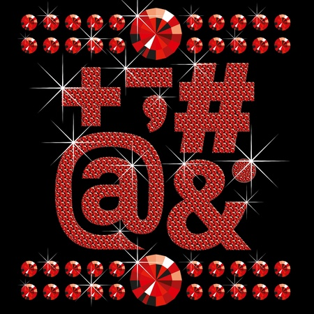 vector set of red diamond letters and numbers big and small Stock Vector - 9955114