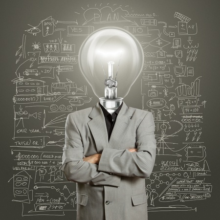 lamp head businessman have got an idea Stock Photo - 10039464