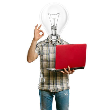 lamp-head male with laptop in his hands shows OK Stock Photo - 10119984
