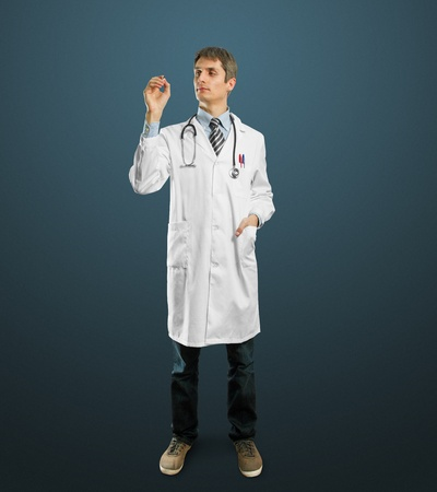 Doctor male writing something with marker on glass  Stock Photo - 10120148