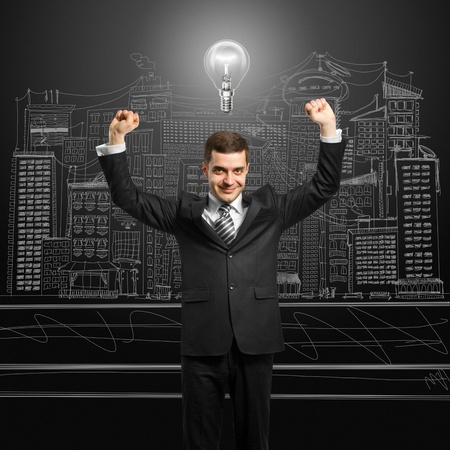 excited lamp-head businessman with hands up  Stock Photo - 10120254