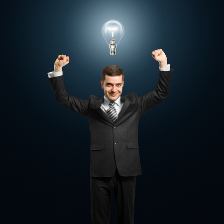 excited lamp-head businessman with hands up Stock Photo - 10120181
