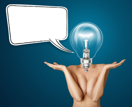 breast comic: lamp head beautiful naked woman with open hands Stock Photo