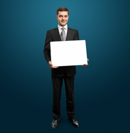 adult  body writing: businessman holding empty write board in his hands